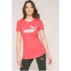 Puma - Top. Różowe topy sportowe damskie Puma, s, z nadrukiem, z bawełny, z krótkim rękawem. Za 89,90 zł.