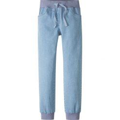 Dżinsy Loose Fit ze ściągaczem bonprix niebieski bleached. Niebieskie jeansy dziewczęce bonprix, z jeansu. Za 59,99 zł.