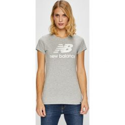 New Balance - Top. Szare topy damskie marki New Balance, l, z nadrukiem, z bawełny, z okrągłym kołnierzem. W wyprzedaży za 84,90 zł.