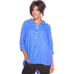 """Bluzki asymetryczne: Lniana bluzka """"Aria"""" w kolorze niebieskim"""