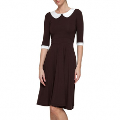 Sukienka w kolorze brązowym. Brązowe sukienki na komunię marki YULIYA BABICH, xs, z dekoltem na plecach, midi. W wyprzedaży za 309,95 zł.