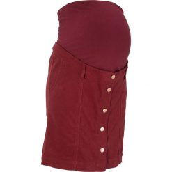 Spódnica sztruksowa ciążowa bonprix czerwony kasztanowy. Czerwone spódnice ciążowe marki bonprix, ze sztruksu, moda ciążowa, dopasowane. Za 99,99 zł.