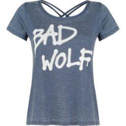 Doctor Who Bad Wolf Koszulka damska odcienie niebieskiego. Szare bluzki nietoperze marki Sinsay, l, z dekoltem na plecach. Za 99,90 zł.