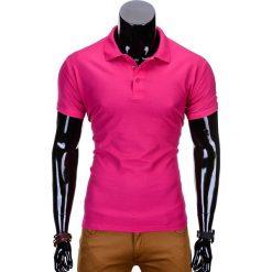 KOSZULKA MĘSKA POLO BEZ NADRUKU S715 - RÓŻOWA. Czerwone koszulki polo Ombre Clothing, m, z nadrukiem, z materiału. Za 39,00 zł.