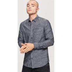 Gładka koszula SLIM FIT - Szary. Szare koszule męskie slim marki House, l, z bawełny. Za 79,99 zł.