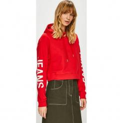 Calvin Klein Jeans - Bluza. Czerwone bluzy z kapturem damskie Calvin Klein Jeans, l, z nadrukiem, z bawełny. Za 499,90 zł.