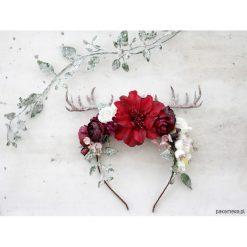 Ozdoby do włosów: Kwiatowa opaska z rogami - jelonek 0067