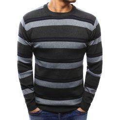 Swetry klasyczne męskie: Sweter męski w paski grafitowy (wx1011)