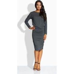 Długie sukienki: Elegancka dopasowana sukienka grafit