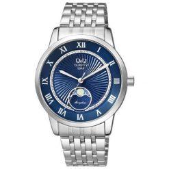 Zegarek Q&Q Męski z fazami księżyca QZ10-218 Klasyczny srebrny. Szare zegarki męskie Q&Q, srebrne. Za 204,50 zł.