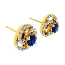 Kolczyki damskie: Złote kolczyki- wkrętki z diamentami i ozdobnymi kamykami