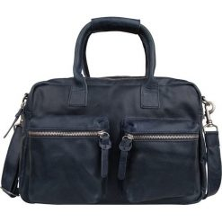 """Torby na ramię męskie: Skórzana torba """"The Bag Small"""" w kolorze granatowym – 38 x 23 x 14 cm"""