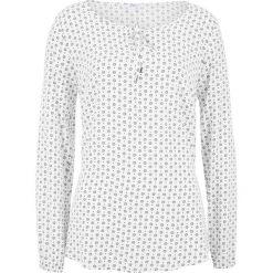 Bluzki damskie: Bluzka z długim rękawem bonprix biało-czarny z nadrukiem