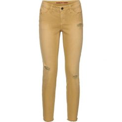"""Dżinsy SKINNY """"destroy"""", dł. do kostki bonprix żółty. Żółte jeansy damskie marki Mohito, l, z dzianiny. Za 49,99 zł."""