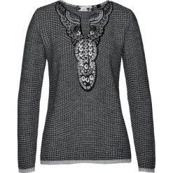 Sweter bonprix czarno-szary wzorzysty. Czarne swetry klasyczne damskie bonprix, z żakardem. Za 99,99 zł.