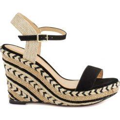 Rzymianki damskie: Sandały ze skóry na koturnie Agaya