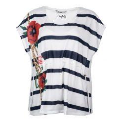 Desigual T-Shirt Damski Xl Biały. Białe t-shirty damskie marki Desigual, xl, z okrągłym kołnierzem. W wyprzedaży za 189,00 zł.