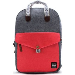 Plecaki męskie: Plecak w kolorze szaro-czerwonym – 27 x 40 x 12 cm
