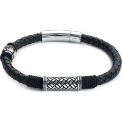 Amon Amarth Logo Bransoletka skórzana czarny/odcienie srebrnego. Czarne bransoletki męskie Amon Amarth, srebrne. Za 99,90 zł.