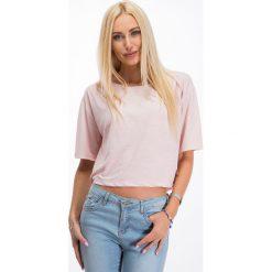 Bluzki damskie: Jasnoróżowa krótka bluzka 3359