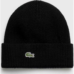 Lacoste - Czapka. Czarne czapki zimowe męskie Lacoste, z dzianiny. W wyprzedaży za 159,90 zł.