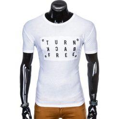 T-shirty męskie: T-SHIRT MĘSKI Z NADRUKIEM S975 - BIAŁY