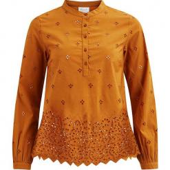 """Tunika """"Safra"""" w kolorze musztardowym. Brązowe tuniki damskie marki Vila & Co., z bawełny, ze stójką. W wyprzedaży za 86,95 zł."""