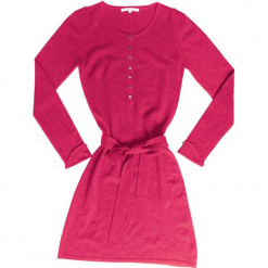 Sukienka kaszmirowa w kolorze różowym. Czerwone sukienki na komunię Ateliers de la Maille, na imprezę, z kaszmiru, z okrągłym kołnierzem, midi. W wyprzedaży za 545,95 zł.