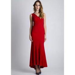 Długie sukienki: Czerwona wieczorowa sukienka maxi BIALCON