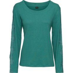 Swetry klasyczne damskie: Sweter z koronkowymi wstawkami bonprix dymny szmaragdowy