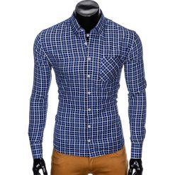 KOSZULA MĘSKA W KRATĘ Z DŁUGIM RĘKAWEM K429 - GRANATOWA/BŁĘKITNA. Brązowe koszule męskie na spinki marki Ombre Clothing, m, z aplikacjami, z kontrastowym kołnierzykiem, z długim rękawem. Za 59,00 zł.