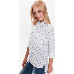 KOSZULA W NADRUK Z DŁUŻSZYM TYŁEM. Szare koszule wiązane damskie Top Secret, na jesień, z nadrukiem. Za 44,99 zł.