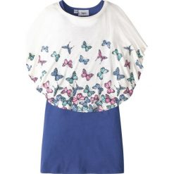Sukienki dziewczęce: Shirt + sukienka (2 części) bonprix biel wełny -szafirowy