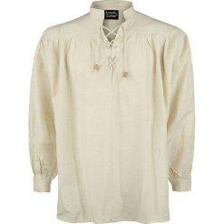 Leonardo Carbone Mittelalter-Stehkragen-Schnürhemd Koszula naturalny. Szare koszule męskie Leonardo Carbone, xxl, z materiału, z długim rękawem. Za 121,90 zł.