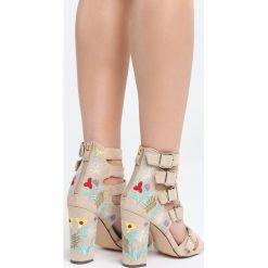 Beżowe Sandały What About Us. Brązowe sandały damskie na słupku marki Born2be, z materiału, na wysokim obcasie. Za 89,99 zł.