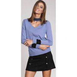 Niebieski Sweter High Pearl Collar. Niebieskie swetry klasyczne damskie other, na jesień, l. Za 74,99 zł.