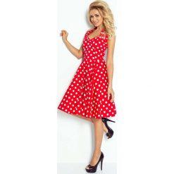 Sukienki: Czerwono Biała Sukienka Rozkloszowana w Grochy Rockabilly Pin Up