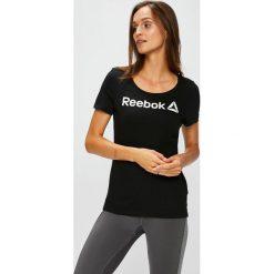 Reebok - Top. Szare topy damskie marki Reebok, s, z nadrukiem, z bawełny, z okrągłym kołnierzem. W wyprzedaży za 59,90 zł.