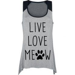 Live Love Meow Top damski odcienie szarego. Szare topy damskie Live Love Meow, m, z nadrukiem. Za 74,90 zł.
