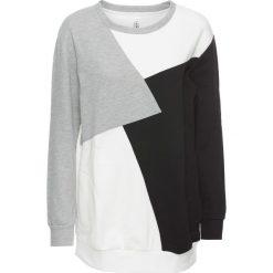Bluza dresowa bonprix biało-czarno-szary. Białe bluzy z kieszeniami damskie bonprix, z dresówki. Za 89,99 zł.