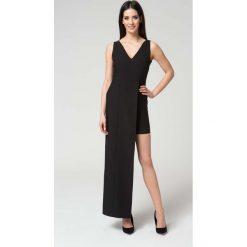 Sukienki: Czarna Wyjściowa Dopasowana Sukienka z Asymetrycznym Dołem