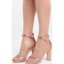 Różowe Sandały Nice Meeting. Czerwone sandały damskie na słupku marki Born2be, z materiału, na wysokim obcasie. Za 79,99 zł.