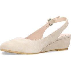 Czółenka JENA. Brązowe buty ślubne damskie Gino Rossi, w paski, ze skóry, na koturnie. Za 169,90 zł.