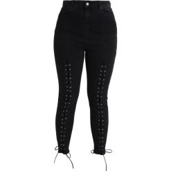 Boyfriendy damskie: New Look Curves LACE UP FRONT ZEN Jeansy Slim Fit black