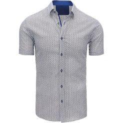Koszule męskie na spinki: Biała koszula męska we wzory (kx0826)