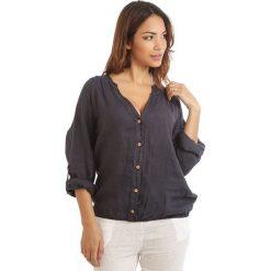 Bluzki damskie: Lniana bluzka w kolorze granatowym