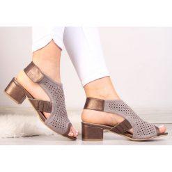 Sandały damskie: Sandały damskie zabudowane ażurowe szare Sabatina