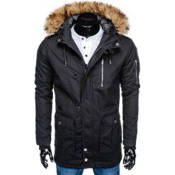 KURTKA MĘSKA ZIMOWA PARKA C365 - CZARNA. Czarne kurtki męskie pikowane marki Ombre Clothing, m, z bawełny, z kapturem. Za 127,20 zł.