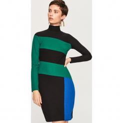 Sukienka w golfem - Wielobarwn. Czarne sukienki marki Molly.pl, na jesień, uniwersalny, z wełny, z golfem, dopasowane. W wyprzedaży za 49,99 zł.