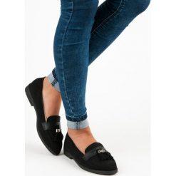 Mokasyny damskie: Merg eleganckie czarne mokasyny czarne